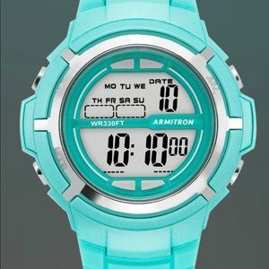 ARMITRON Teal Resin Chronograph Digital Spts Watch